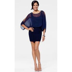Cache Chiffon Slit Sleeve Mini Dress